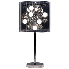 Modern Table Lamp with Grey in Chrome Finish