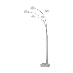 Modern Arc Lamp with White Glass in Chrome & Marble Finish