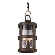 Outdoor Hanging Light With Clear Glass In Barbosa Bronze Finish