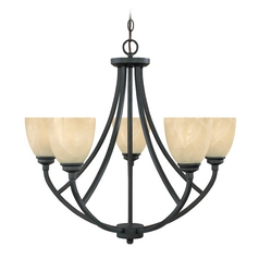 Chandelier with Alabaster Glass in Burnished Bronze Finish