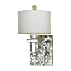 Modern Sconce Wall Light with White Shade in Mosaic Finish