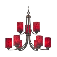 2-Tier 9-Light Chandelier with Cylinder Art Glass Shade in Bronze