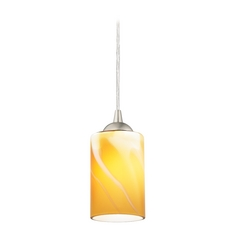 Satin Nickel Mini-Pendant Light with Butterscotch Cylinder Art Glass