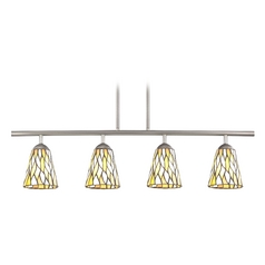 Tiffany Glass Linear Pendant Light with 4-Lights in Satin Nickel Finish