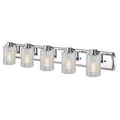 Industrial Textured Glass 5-Light Vanity Light in Chrome