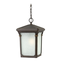 LED Outdoor Hanging Light with White Glass in Oil Rubbed Bronze Finish