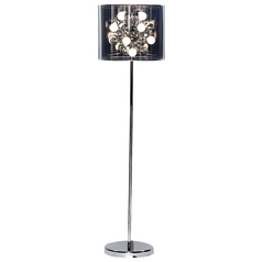 Modern Floor Lamp with Black in Chrome Finish