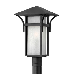 Etched Seeded Glass Post Light Black Hinkley Lighting