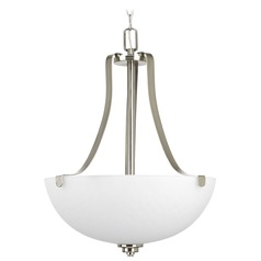 Progress Lighting Legend Brushed Nickel Pendant Light with Bowl / Dome Shade