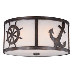 Frosted Seeded Glass Flushmount Light Bronze Vaxcel Lighting