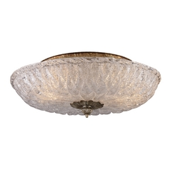 Flushmount Light with Textured Clear Glass in Antique Silver Leaf