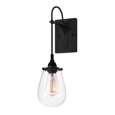 Modern Sconce Wall Light with Clear Glass in Satin Black Finish