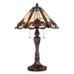 Table Lamp with Multi-Color Glass in Western Bronze Finish