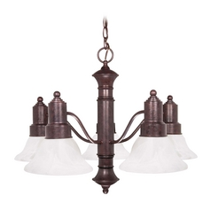 Chandelier with Alabaster Glass in Old Bronze Finish