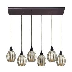 Multi-Light Pendant Light with Mercury Glass and 6-Lights