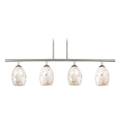 Linear Pendant Light with 4-Lights and Mosaic Glass in Satin Nickel Finish