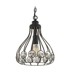 Elk Lighting Crystal Web Bronze Gold / Black Pendant Light with Bowl / Dome Shade
