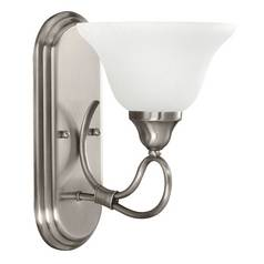 Kichler Sconce Wall Light with White Glass in Antique Pewter Finish