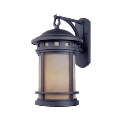 Bronze Outdoor Wall Lantern with Amber Glass