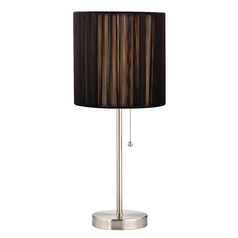 Pull-Chain Table Lamp with Black String Drum Shade