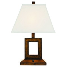 Bronze Table Lamp with Cream Linen Rectangle Shade
