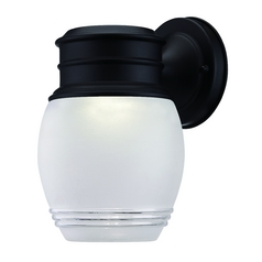 LED Outdoor Wall Light with White Glass in Black Finish
