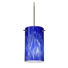 Besa Lighting Stilo 7 Bronze Mini-Pendant Light with Cylindrical Shade