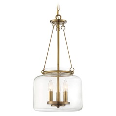 Savoy House Lighting Akron Warm Brass Pendant Light with Drum Shade