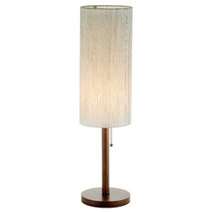 Modern Console & Buffet Lamp with Beige / Cream Shade in Walnut Finish