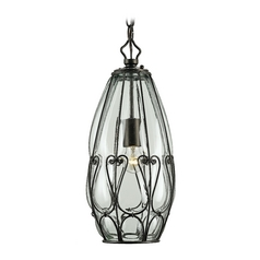 Modern Mini-Pendant Light with Clear Glass in Satin Black Finish