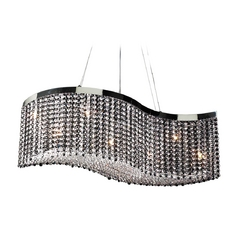 Modern Pendant Light with Black Glass in Polished Chrome Finish