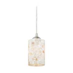 Design Classics Lighting Mosaic Mini-Pendant Light with Cylinder Glass in Satin Nickel Finish 582-09 GL1026C
