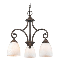 Mini-Chandelier with White Glass in Bronze Finish