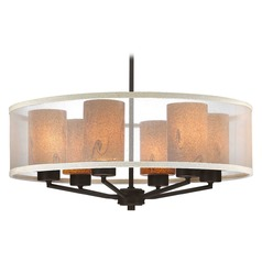 Organza Drum Pendant Light Bronze with Art Glass 6-Light
