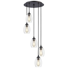 Bronze Multi-Light Pendant with Clear Oblong Glass and 5-Lights