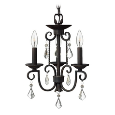 Black Three Light Crystal Chandelier