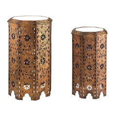Set Of 2 Moroccan Side Table With Mirrored Tops