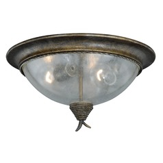 Seeded Glass Flushmount Light Bronze Vaxcel Lighting