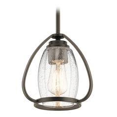 Seeded Glass Mini-Pendant Light Olde Bronze Tuscany by Kichler Lighting
