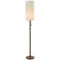 Modern Floor Lamp with Beige / Cream Shade in Walnut Finish