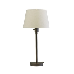 Modern Table Lamp with White Shade in Granite Finish