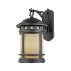 Outdoor Wall Light with Amber Glass in Mediterranean Patina Finish