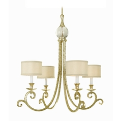Chandelier with Beige / Cream Shades in Soft Gold Finish