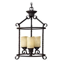 Black Cage Chandelier with Three Lights