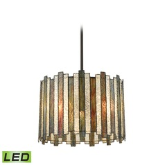Elk Lighting Lineage Oil Rubbed Bronze LED Pendant Light with Drum Shade