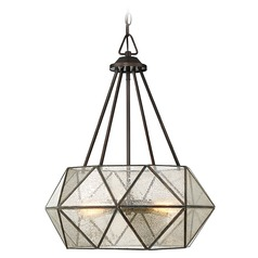 Mercury Glass Octagon Pendant Light Bronze Savoy House