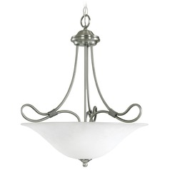 Kichler Pendant Light with White Glass in Antique Pewter Finish