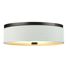 Modern Flushmount Light with White Shade in Sorrel Bronze Finish