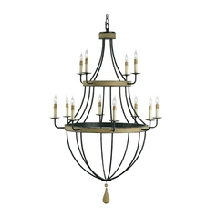 Modern Chandelier in Umber Rust/washed Wood Finish