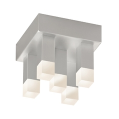 Modern LED Flushmount Light with White in Bright Satin Aluminum Finish